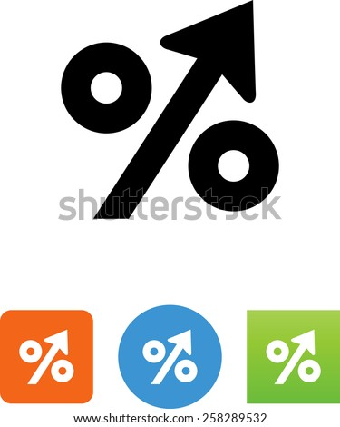 Increasing percentage symbol for download. Vector icons for video, mobile apps, Web sites and print projects. - stock vector