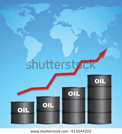 Increasing Price of Oil With World Map Background, Credit Map by NASA - stock vector