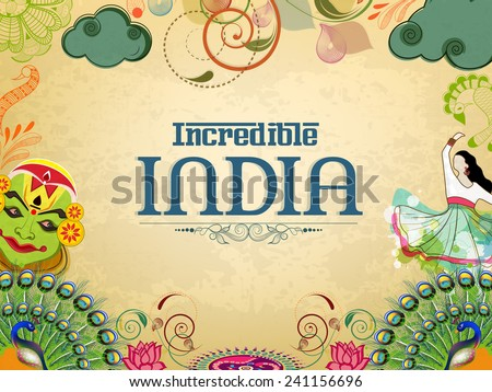 Incredible India, a glance of traditional Indian dances with National Bird Peacock and Flower Lotus on grungy background. - stock vector