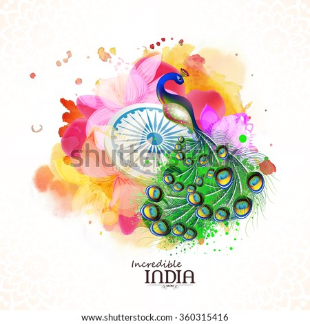 Incredible India, Creative illustration of Indian National Bird Peacock with Ashoka Wheel on beautiful floral design decorated background for Republic Day celebration. - stock vector
