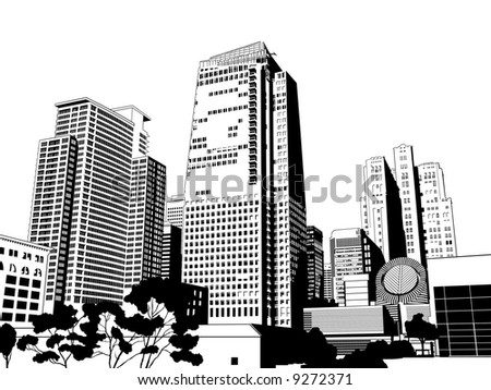 Incredibly Detailed Urban City Skyline - stock vector