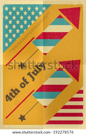 Independence Day American  Poster in Retro Style with fireworks. Fourth of July. Vector Illustration.  - stock vector