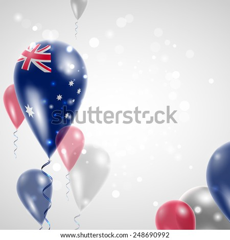 Independence Day. Australian flag on air balloon. Celebration and gifts. Balloons on the feast of the national day.  Use for brochures, printed materials, signs, elements - stock vector