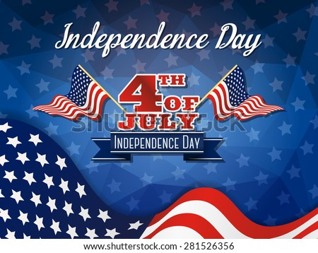 Independence day background and badge logo with US flag - stock vector