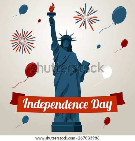 Independence day card concept with liberty statue. Vector - stock vector