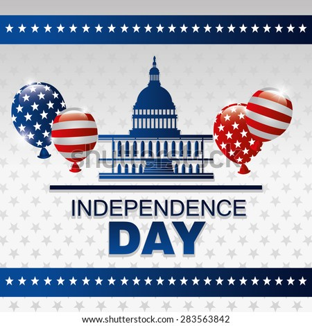Independence day design over white background, vector illustration.