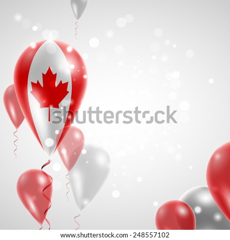 Independence Day. Flag of Canada on air balloon. Celebration and gifts. Balloons on the feast of the national day.  Use for brochures, printed materials, signs, elements - stock vector