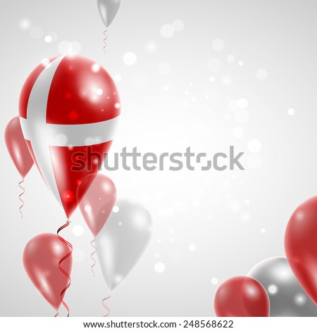 Independence Day. Flag of Denmark on air balloon. Celebration and gifts. Balloons on the feast of the national day.  Use for brochures, printed materials, signs, elements - stock vector