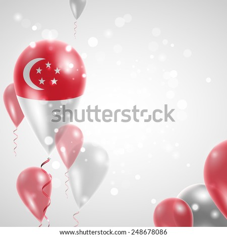 Independence Day. Flag of Singapore on air balloon. Celebration and gifts. Balloons on the feast of the national day.  Use for brochures, printed materials, signs, elements - stock vector