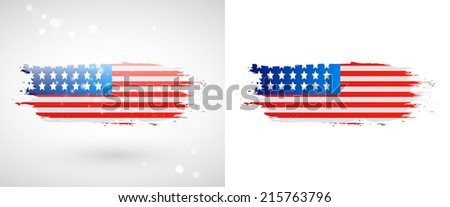 Independence Day. Flag painted with a brush with paint. Grungy flag. Grungy style. Brushstroke. Use for brochures, printed materials, icons, logos, signs,  elements, etc. USA - stock vector
