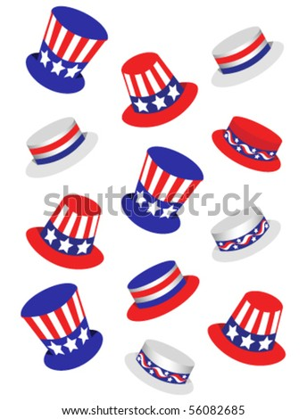 Independence Day hat collection - stock vector