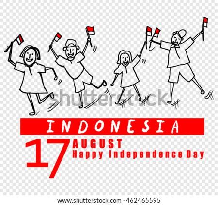 Independence Day Indonesia Vector de stock (libre de regalías ...