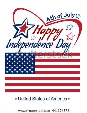 Independence Day lettering card. 4th of July. Fourth of July. Happy Independence Day. US flag. Typographic design. Vector red and blue lettering on a white background - stock vector