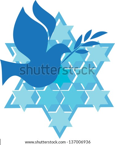 independence day of Israel, david star and peace white dove - stock vector