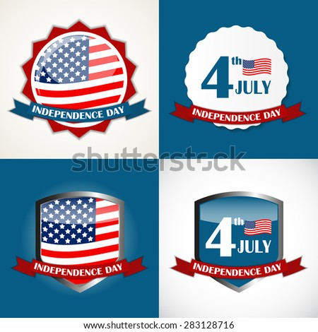 Independence Day Poster Set Vector Illustration Eps10 - stock vector