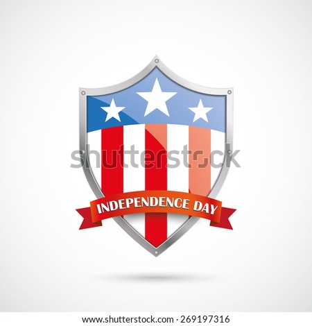 Independence day protection shield on the white background. Eps 10 vector file. - stock vector