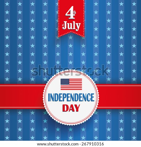 Independence day retro flyer with white emblem. Eps 10 vector file. - stock vector
