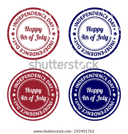 Independence day rubber stamps - stock vector