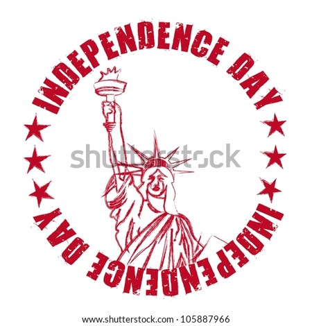 independence day seal with statue liberty. vector illustration - stock vector