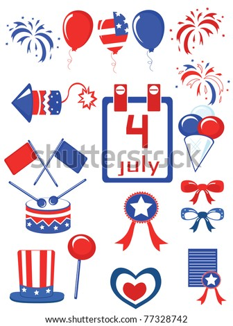Independence Day,set,vector. - stock vector