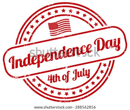 independence day stamp - stock vector