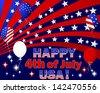 Independence Day. Text and balloons with the pattern of the American flag. Vector illustration. - stock vector