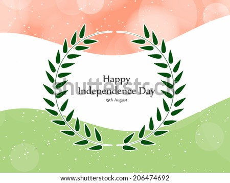 Independence Day text covered with floral leaves on a Indian Flag Background for Independence Day - stock vector