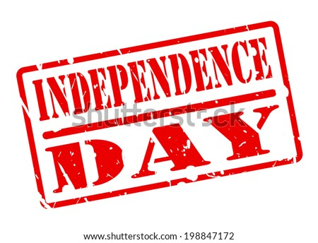 INDEPENDENCE DAY text red stamp on white background - stock vector