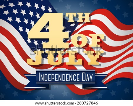 Independence day, 4th of July wavy flag design, Vector illustration.