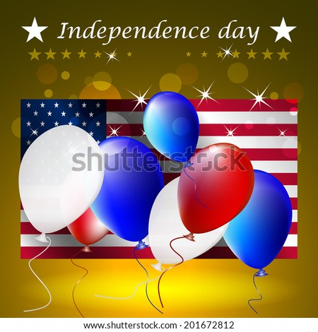 Independence day, vector illustration with US flag on the background/design for poster, print or creative editing