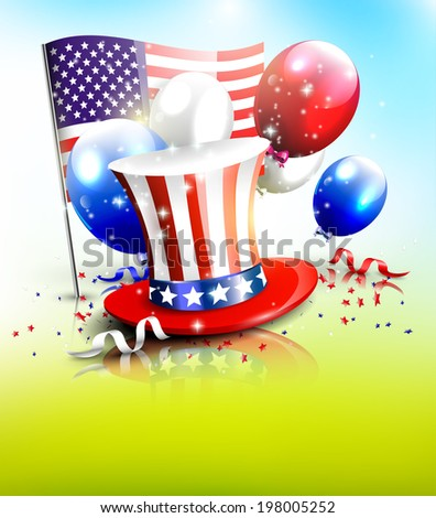 Independence day - vector poster with hat, balloons and American flag  - stock vector