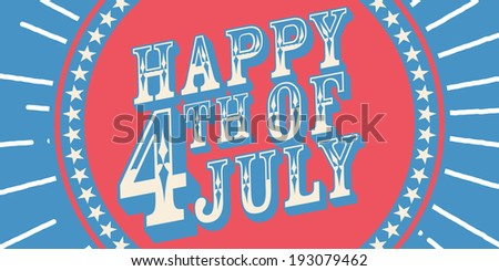 Independence Day Wood Sign - stock vector