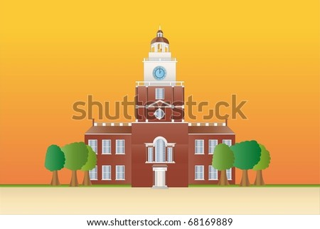 independence hall at sundown ( background on separate layer) - stock vector