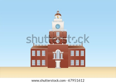 independence hall in Philadelphia ( background on separate layer ) - stock vector