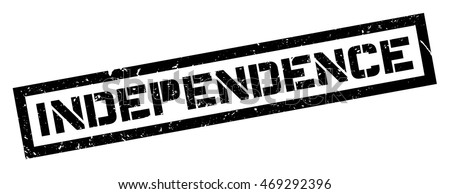 Independence rubber stamp on white. Print, impress, overprint.