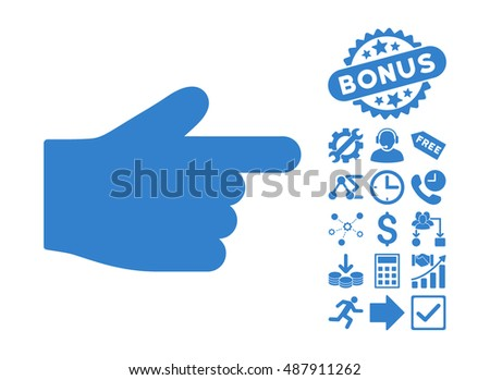 Index Finger pictograph with bonus pictures. Vector illustration style is flat iconic symbols, cobalt color, white background.
