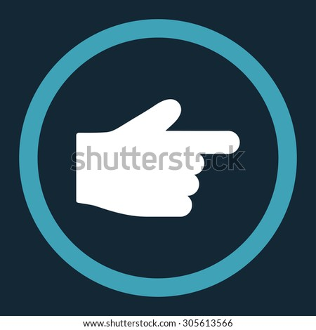 Index Finger vector icon. This rounded flat symbol is drawn with blue and white colors on a dark blue background.