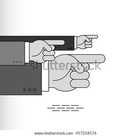 Index fingers show the direction; Group of arrow signs from the pointing hands with forefingers in the sleeves of business suits; Vector Eps8 - stock vector