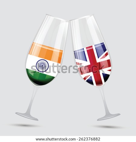 India and Great Bertain UK England friendship flag wine glass vector illustration - stock vector