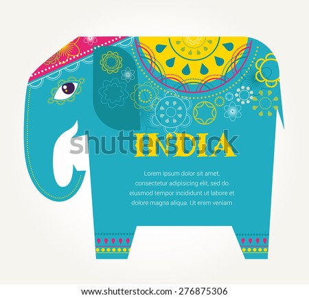 India - background with patterned colorful elephant - stock vector