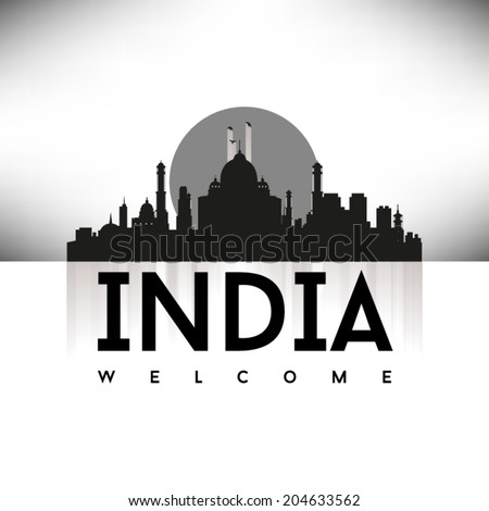 India, Black Skyline Design, vector illustration. - stock vector