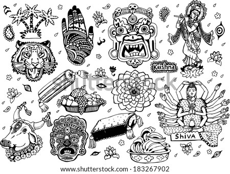India Collection  Black&White (EPS10 Vector doodles) - stock vector