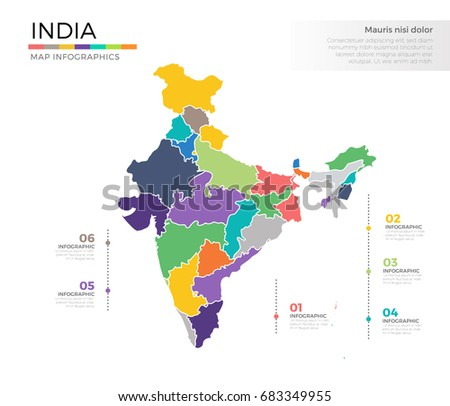 India Country Map Infographic Colored Vector Stock Vector 683349955 ...
