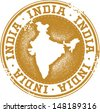 India Country Stamp - stock vector