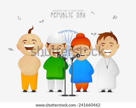 India, cute little kids of different religion singing patriotic song on occasion of Indian Republic Day on Ashoka Wheel background. - stock vector
