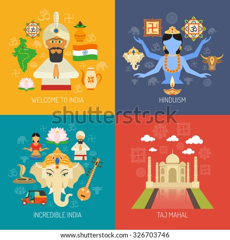 India design concept set with hinduism religion flat icons isolated vector illustration - stock vector