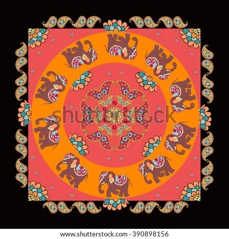 India. Ethnic bandana print with beautiful flowers, paisley and elephants. Summer kerchief square pattern. Mandala. - stock vector