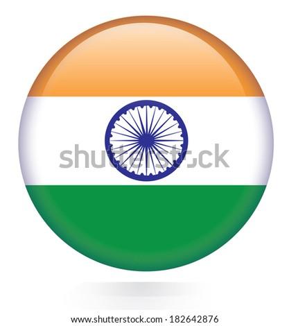 India flag button - stock vector