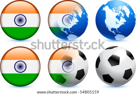 India Flag Button with Global Soccer Event Original Illustration - stock vector