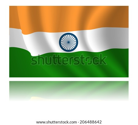 India flag with shadow in the wind illustration